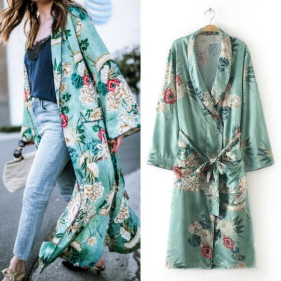 US Stock Womens Vintage Loose Blouse Summer Boho Coat Shawl Kimono Cardigan Tops