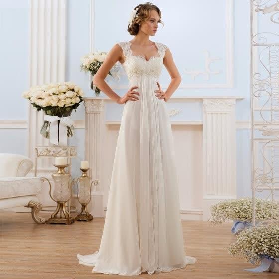 vestidos de novia blanco de la playa de encaje gasa embarazadas