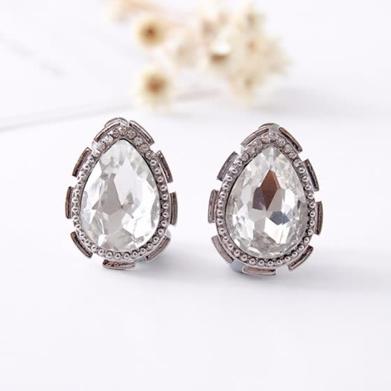 Retail/original design exquisite fashion drop ear clip women-only crystal clip earrings jewelry