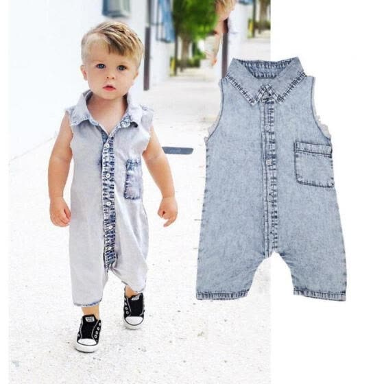 e1574a4d136 Denim Newborn Baby Bodysuit Romper Infant Boy Girl Jumpsuit Clothes Outfit