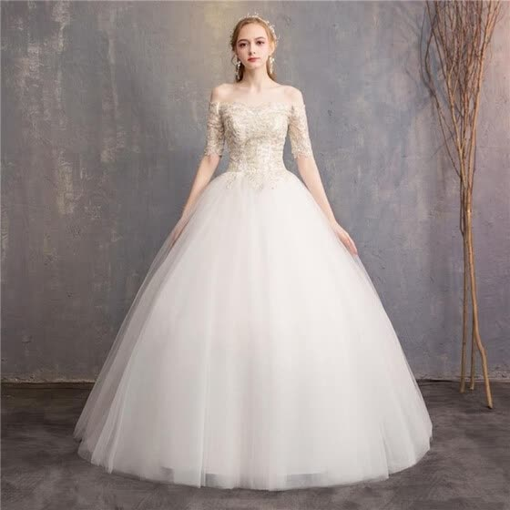Princess Colorful Wedding Dress Elegant Half Sleeve Boat Neck Champagne Embroidered Luxury Train Off The Shoulder Bride Gown