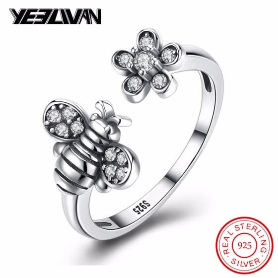 100% Authentic 925 Sterling Silver Wing Animal Bee Finger Rings for Woman Vintage Sterling Silver Flower Jewelry Christmas Anel