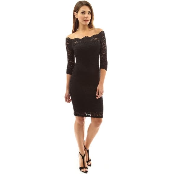 Women's Off The Shoulder Lace Formal Cocktail Party Pencil Dress Knee Length Dresses