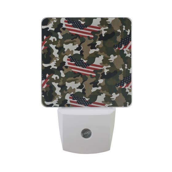 ALAZA LED Night Light With Smart Dusk To Dawn Sensor,Camouflage Vintage Style Plug In Night Light