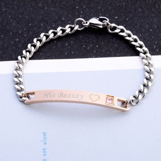 "Set a unique gift for the lover """" his beauty """" her beast """" couple bracelet ladies stainless steel bracelet men's jewelry"