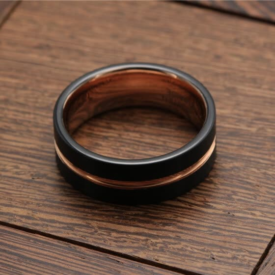 bdx Fashion Black and rose gold Tungsten steel Ring Wedding Bands 8MM Tungsten Carbide Rings for Men Jewelry Dropshipping