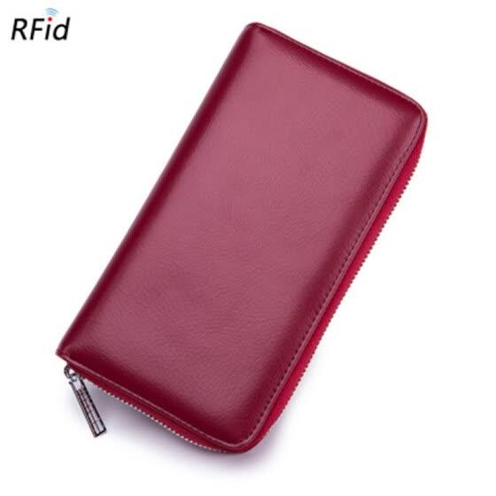 7c7c347d0a Shop Leather organ card long wallet passport bag rfid multi-card ...