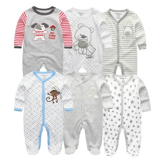fdf5010a9 6PCS Cartoon Unisex Baby Girl Clothes Cotton Jumpsuit Baby Rompers Babywear Newborn  Baby Boy Clothes Bebe