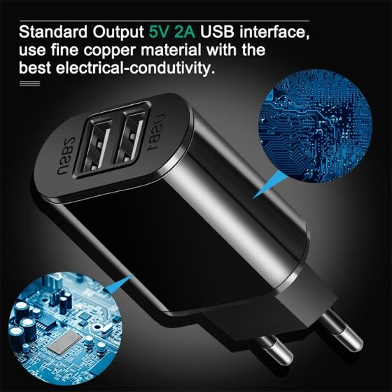NeillieN Universal USB fast Charger Adapter ,Portable Plug,USB Port,Dual USB Fast Charging Head Flat Plate General Charging 5V 2A