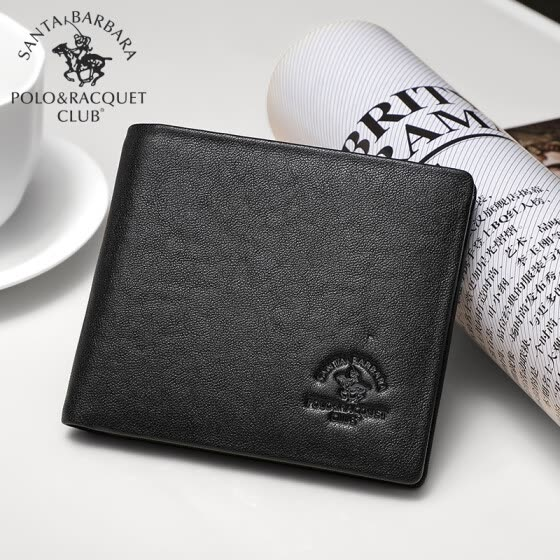 St. Paul's POLO men's wallet first layer cowhide cross section wallet men's business short wallet multi-card card package D82850236 black