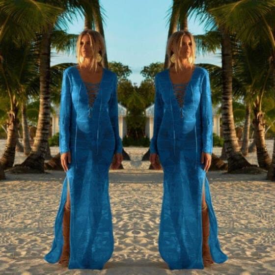 318ceaebe6 Womens Bikini Cover Up Swimwear Beach Maxi Wrap Skirt Sarong Kimono Kaftan  Dress