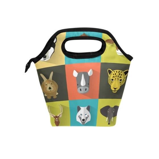 Bag Tote Grid Animals Travel Picnic