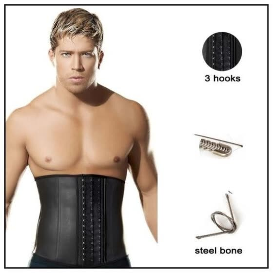 4c8f2ccc50e Latex Men Corset Waist Trainer Steel Boned Waist Body Cincher Corset Belt  Girdle
