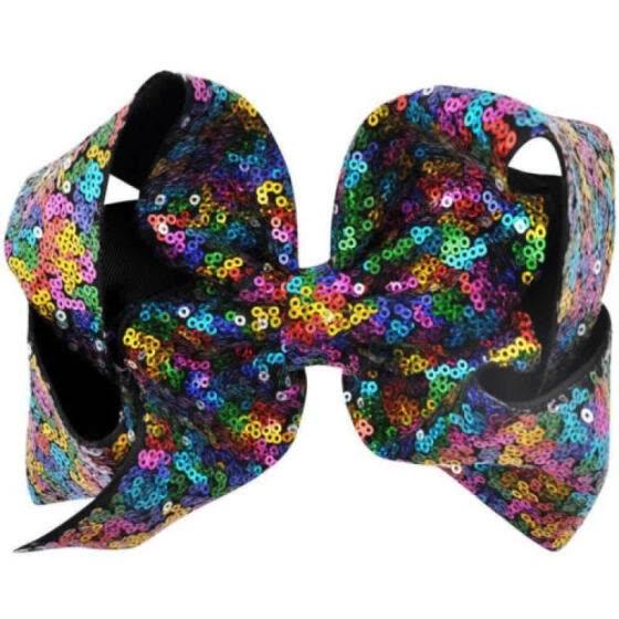 Big Large 8 inch Sequin Hair Bow Alligator Clips Headwear Girls Hair Accessories