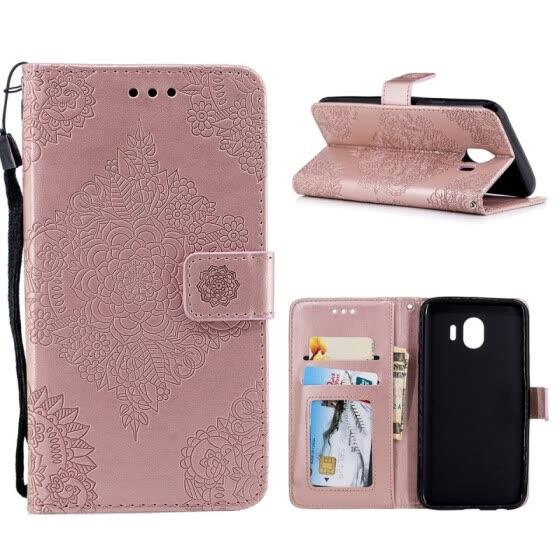 e32b2a5ffdc MOONCASE Samsung Galaxy J4 Porcelana azul y blanca con estuche de cuero  repujado - Oro rosa