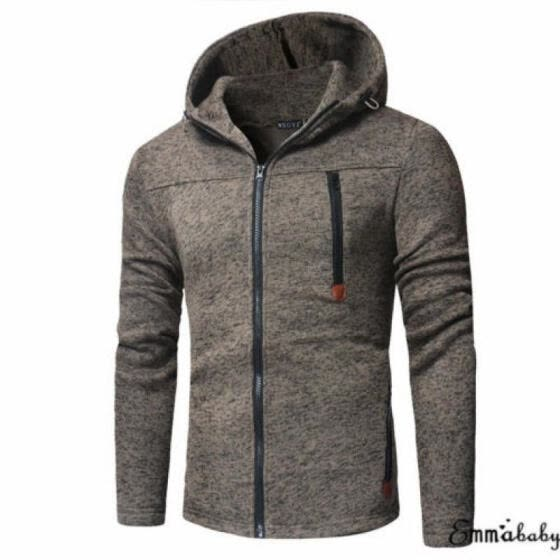 Mens Warm Long Sleeve Jacket Full Zipper Knitted Jumper Cardigan Sweater Top