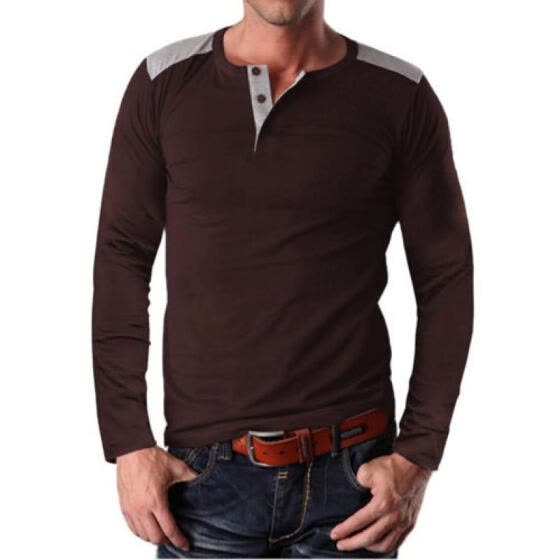Men's Slim Fit Long Sleeve Muscle Tee Shirts Casual T-shirt Tops Blouse PO