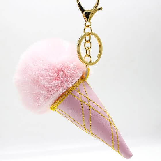 Free Shipping Ice Cream Charms Plush Phone Case Straps Cartoon Rabbit Fur Like Key Chain Poms Ball Pendant Keychains Car Keyrings