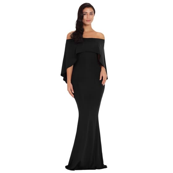 2019 Off The Shoulder Mermaid Formal Evening Gown Batwing Cape Long Wedding Party Dress