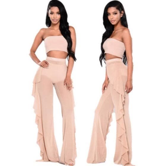 051dfb7d85 Women High Waist See Through Flared Leg Mesh Summer Beach Long Pants  Trousers UK