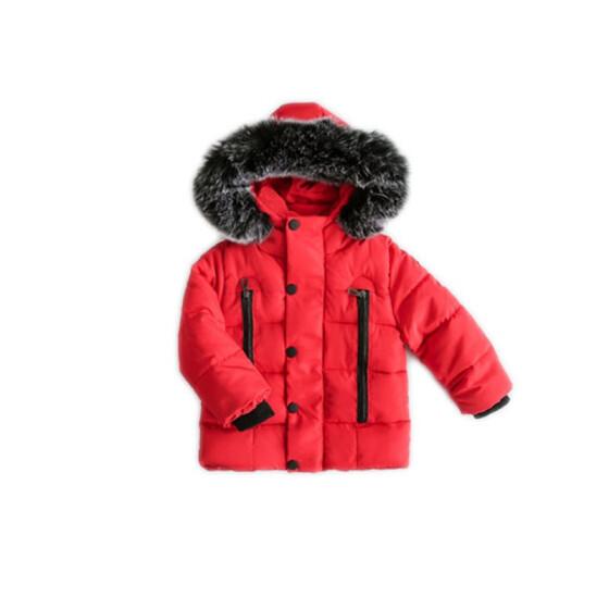 Boys Fashion Padded Jacket Cotton Coat Winter Kids Warm Fur Hooded Parka Outwear