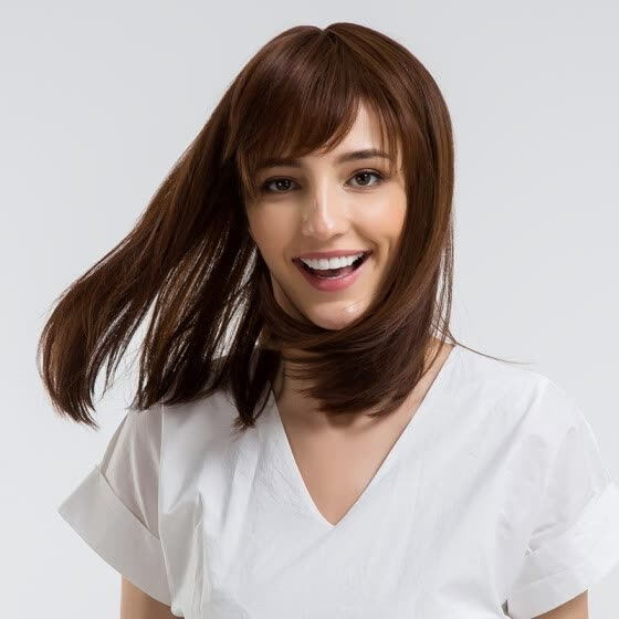 Shop Blonde Unicorn 14 Inch Straight Bob Hair Wig With Bangs Shoulder Length Light Brown Human Hair Synthetic Blend Wig Online From Best Full Cap Wigs On Jd Com Global Site Joybuy Com