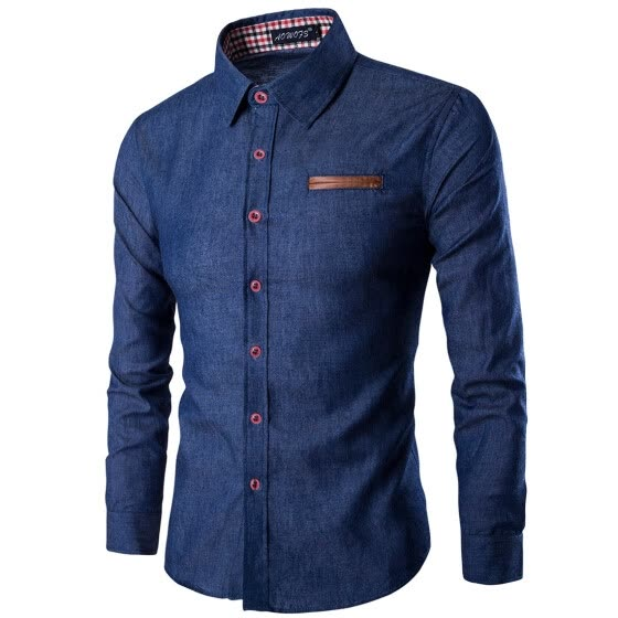 AOWOFS quality  men's pockets skinned cotton long-sleeved shirt denim shirt N13