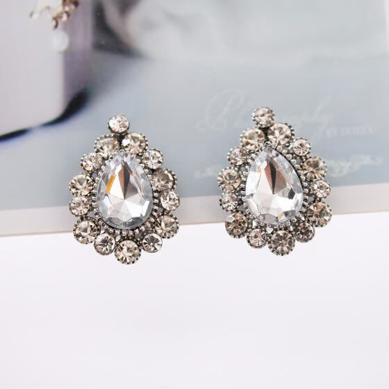 2019 European trendy rhinestone style droplet earrings, earrings, family, women, mother's gift earring jewelry