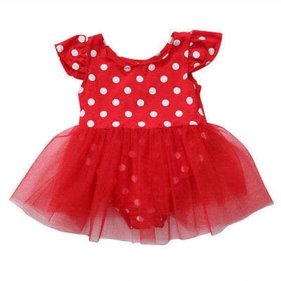 13c56a55a New Cute Girl Kids Baby Princess Party Wedding Pokla Dot Tulle Tutu Romper  Dress