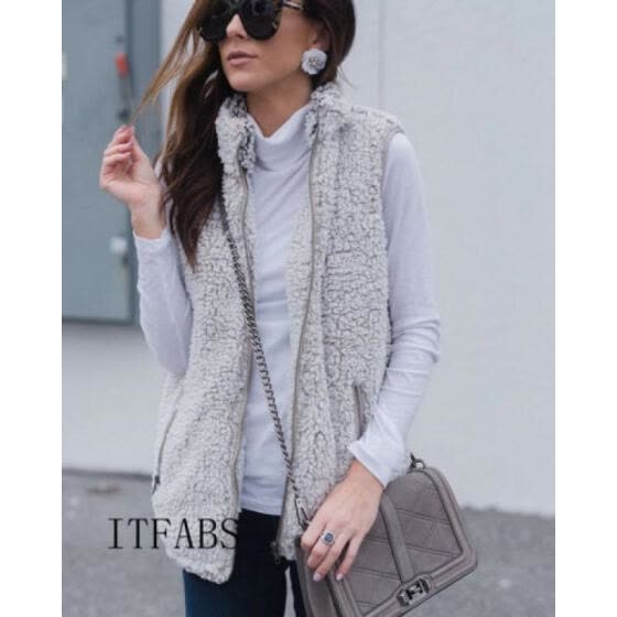 Women Vest Winter Warm Outwear Casual Faux Fur Zip Up Sherpa Jacket Coat Tops