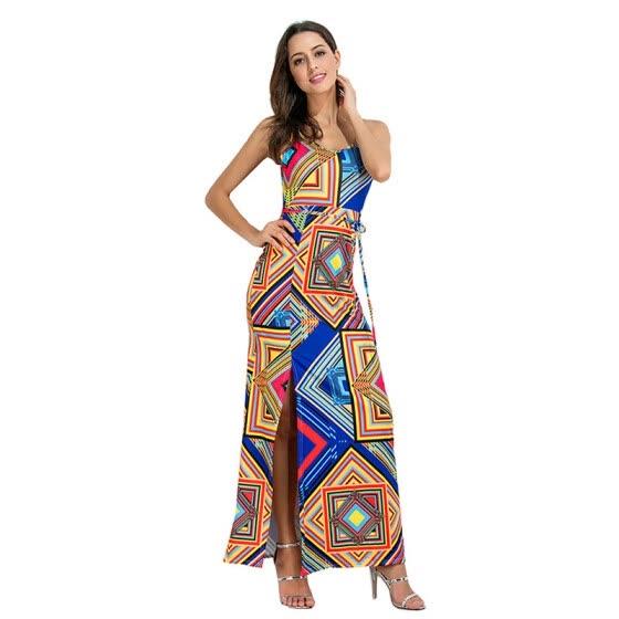 929a57c2201c PREISEI Summer Women Sexy Elegant Backless Print Maxi Dresses O-Neck Sling Sleeveless  Plus Size