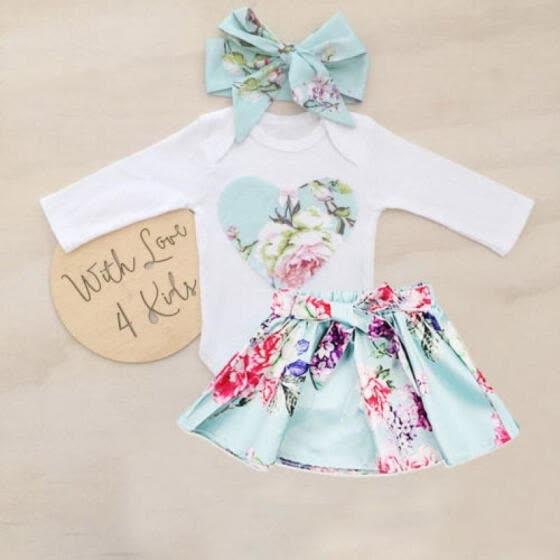 88d72678738 Newborn Kid Baby Girls Floral Clothes Jumpsuit Romper Bodysuit Skirt  Outfits Set