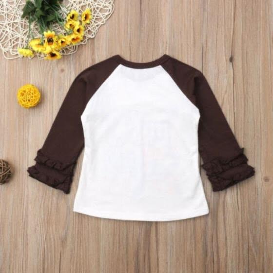 6797d5fb0 Thanksgiving Toddler Kids Baby Girls Long Sleeve Turkey Pie T-Shirt Tops  Blouse
