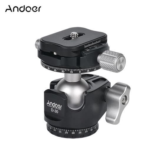 Andoer D-30 Professional Double Panoramic Head CNC Machining Aluminum Alloy Ball Head Double U Notch Design Low Center of Gravity