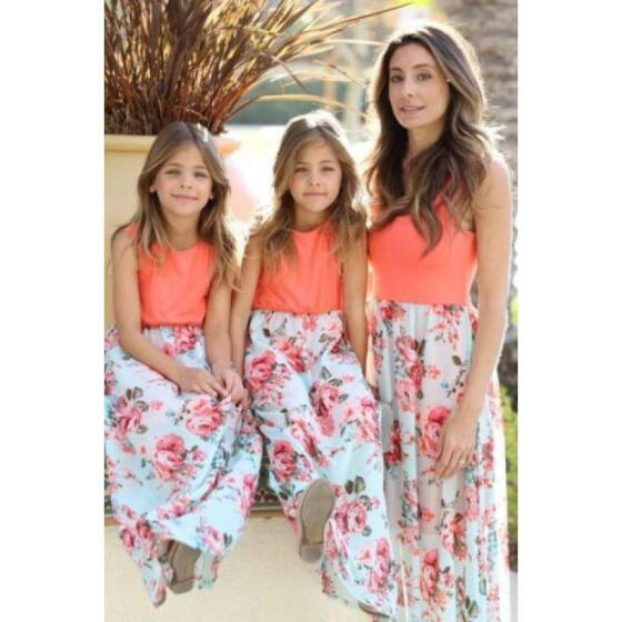 Mother And Daughter Matching Party Dresses Women Girl Floral Dress Family Clothe
