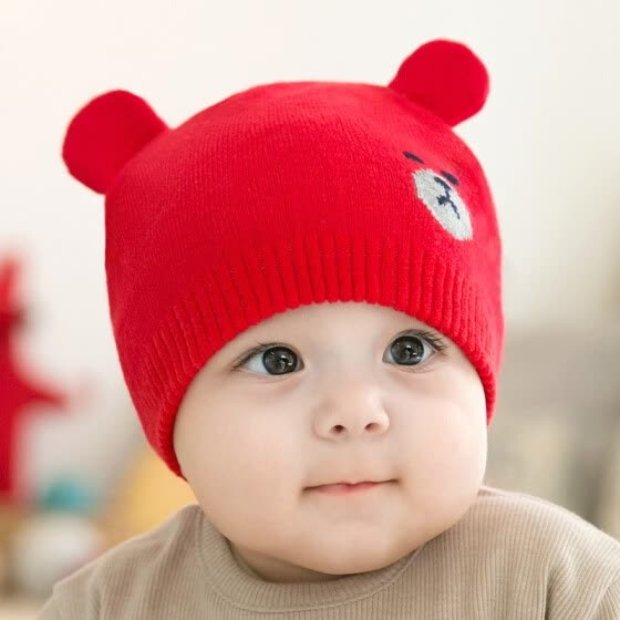 5fbe3bbe6 Shop Fashion Newborn Hats Knitted Warm Bear Round Machine Cap ...