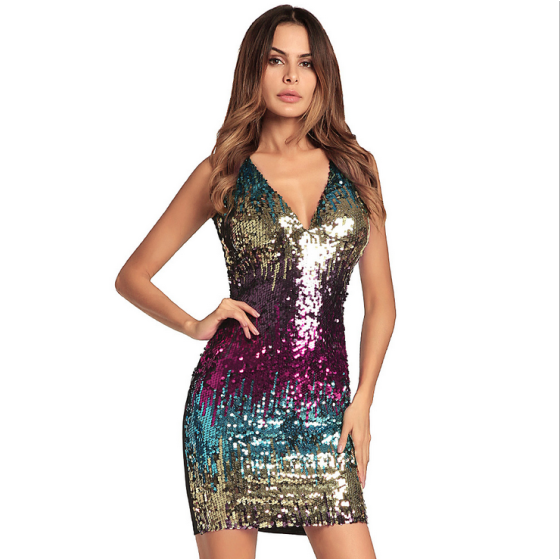 European and American New Style Bursting Non Sleeve Buttocks Skirt Sexy Sequins Dress Dresses of the Annual Meeting