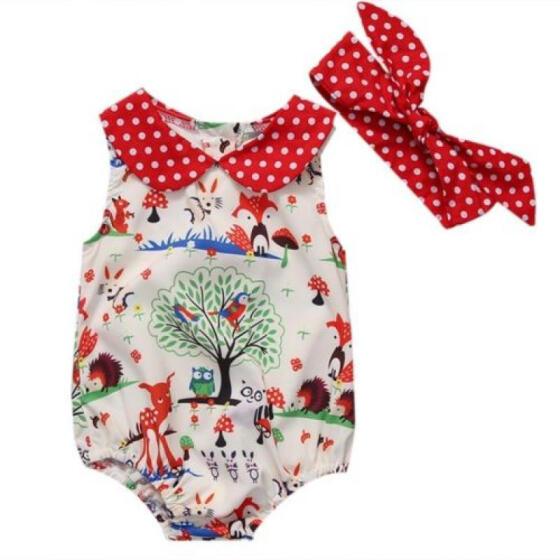 Newborn Infant Baby Girls Romper Jumpsuit Bodysuit Headband Clothes Outfits Set