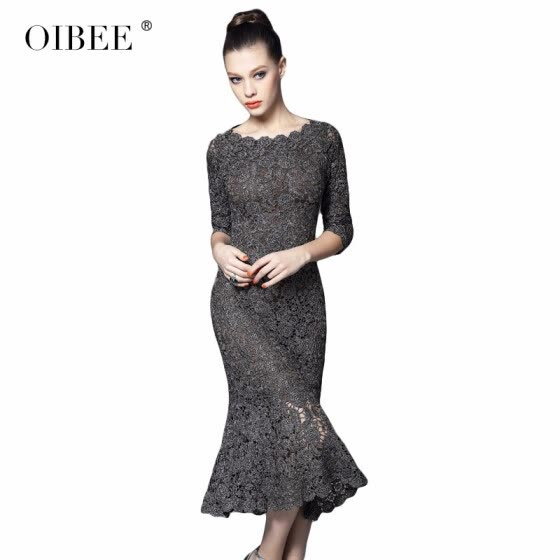 OIBEE2018 spring new lace seven-point sleeves long embroidered dress Slim bag hip dress female