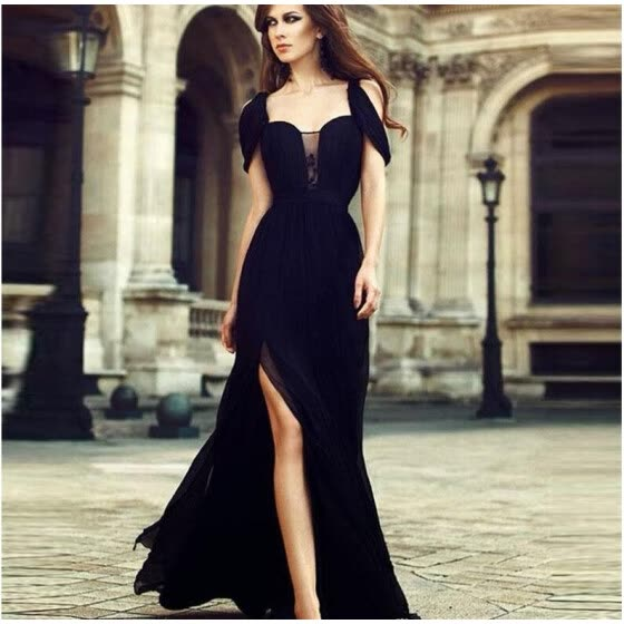 2018 Elegant A Line Cap Sleeve Chiffon Long Evening Dresses Party Evening Gown