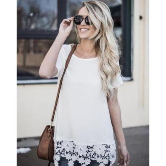8c30edc119 2018 blusa de algodón de verano para mujer de encaje de manga corta camiseta  sin mangas