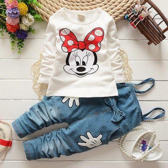 Shop Nina Bebe Minnie Mouse Camiseta Bib Denim Pantalones Trajes Set Ropa 1 5y Online From Best Socks Leggings Jeans On Jd Com Global Site Joybuy Com