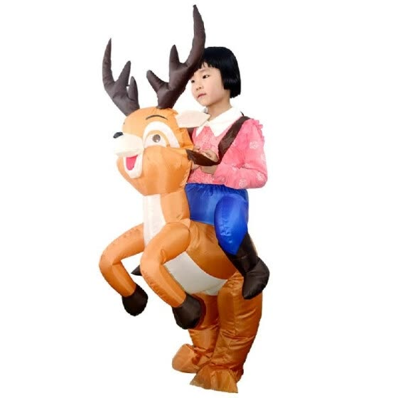 Kids Christmas Reindeer Inflatable Costume Suit Blow Up Inflatable Fancy Dress Jumpsuit for Dress Up Party Stage Performance