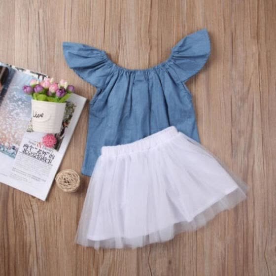 a42f467a4c14 2Pcs Kids Baby Girl Denim Tops Blouse+White Skirt Party Tutu Clothes Set  Outfits