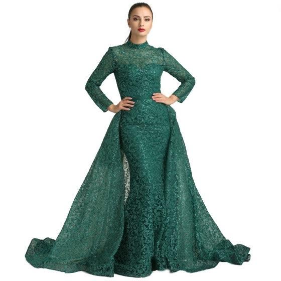 Fashion Mermaid Luxury Glitter Vino Rojo Vestido De Noche