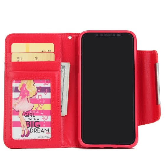 New iPhoneX Mobile Phone Cases Samsung Mobile Shell Wallet Flip Card Protector Red