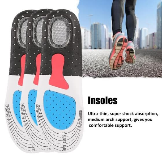 Orthopedic Foot Arch Support Sport Shoe Pad Running Gel Insoles Insert Cushion Insole Sneakers Pad Sweat-absorption And Flash Dryi