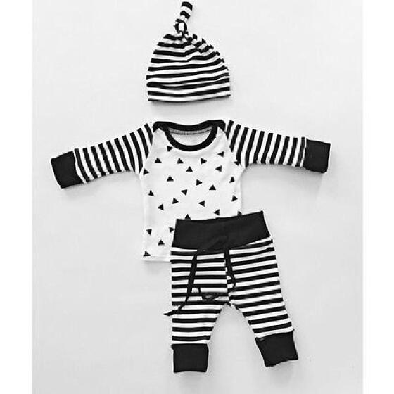3pcs Newborn Infant Baby Boys Girls T-shirt Tops+Pants+Hat Outfits Clothes Sets