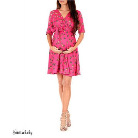 Maternity Short Sleeve V-Neck Nursing Casual Nightdress Pregnant Shirt Dress US