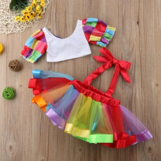 36de1a0e4e79 2Pcs Kids Baby Girls Party Festival Crop Top Tutu Skirt Dress Outfits  Clothes UK